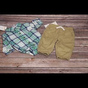 Gymboree button up and joggers set. NWT!!